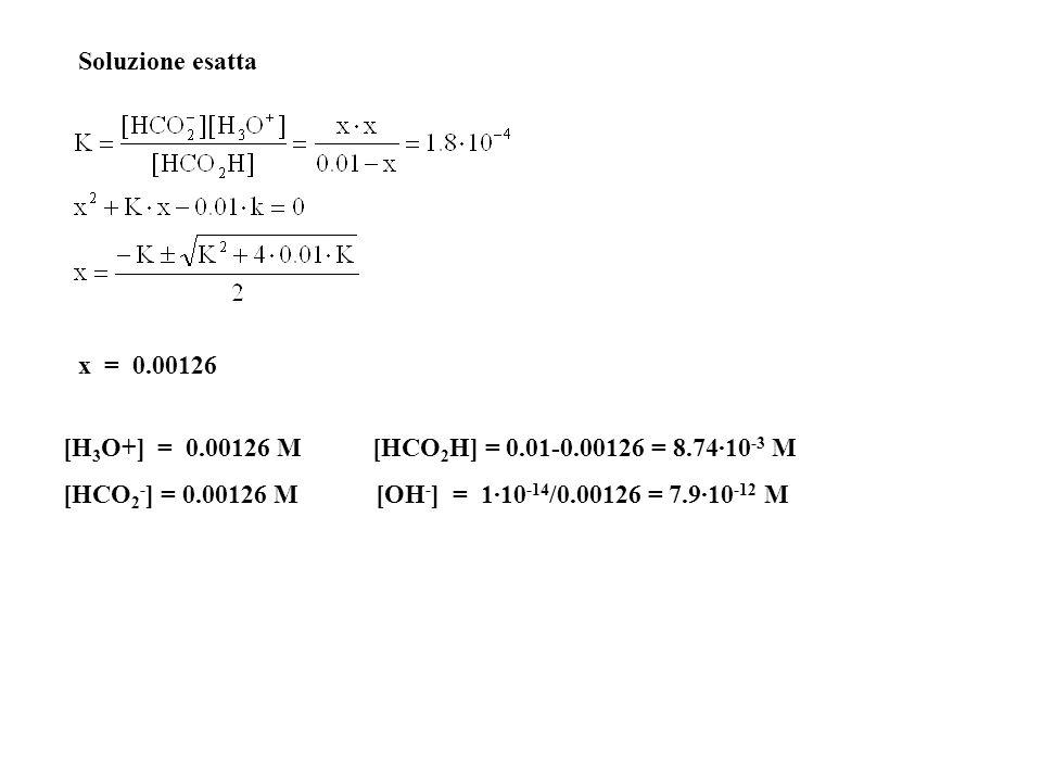Soluzione esatta x = 0.00126. [H3O+] = 0.00126 M [HCO2H] = 0.01-0.00126 = 8.74·10-3 M.